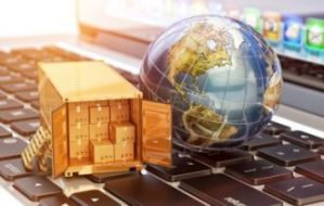 Container and globe on keyboard